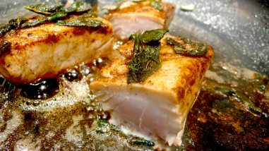 cape salmon with sage butter=