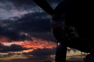 Sundown on the airstrip with the DC3