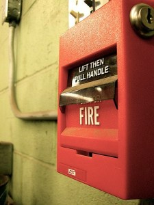Fire Alarm: Lift Then Pull Handle