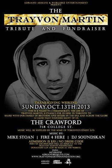 Trayvon Martin Tribute Flyer Crawford Fire 4 Hire Soundsystem DJ Soundskan Mike Stoan