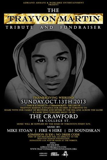 Trayvon Martin Tribute Flyer Crawford Fire 4 Hire Soundsystem DJ Soundskan Mike Stoan