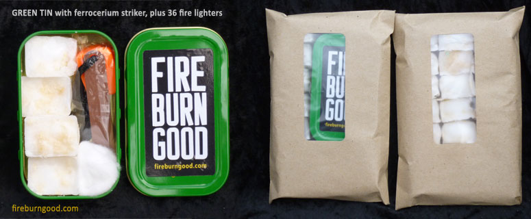 Firelighting Kit with green tin
