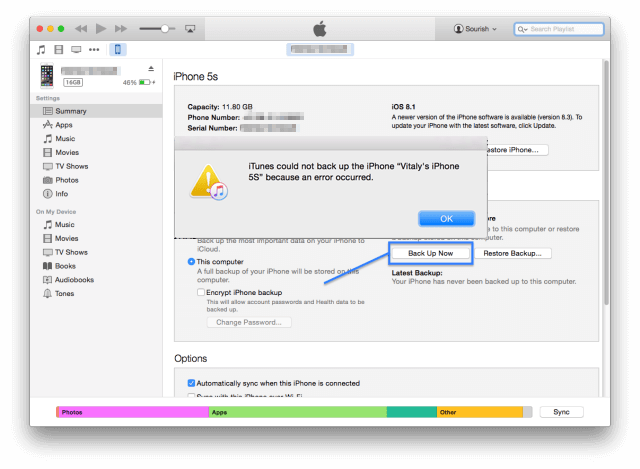 how to do when iTunes can't backup your iPhone?