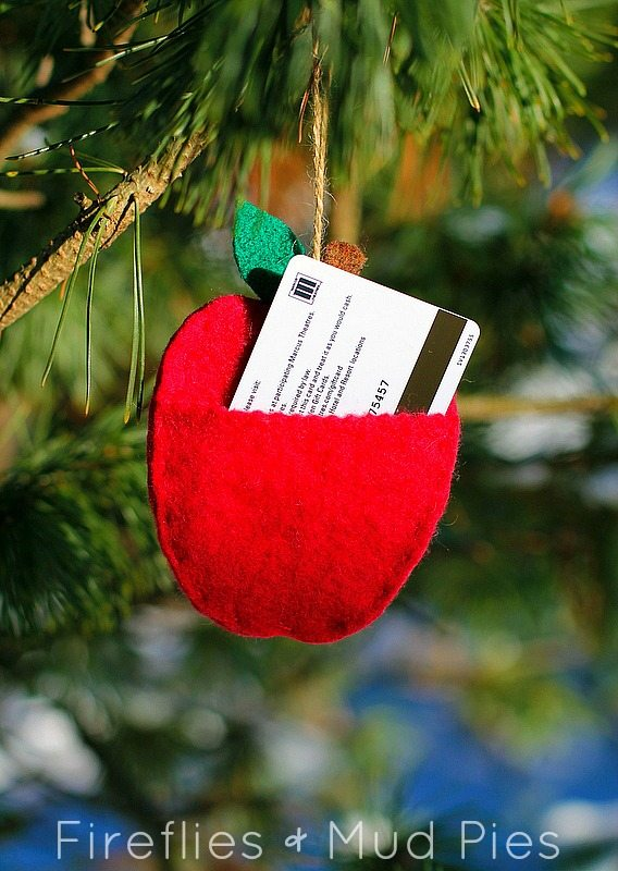 Apple Ornament with Gift Card Pocket