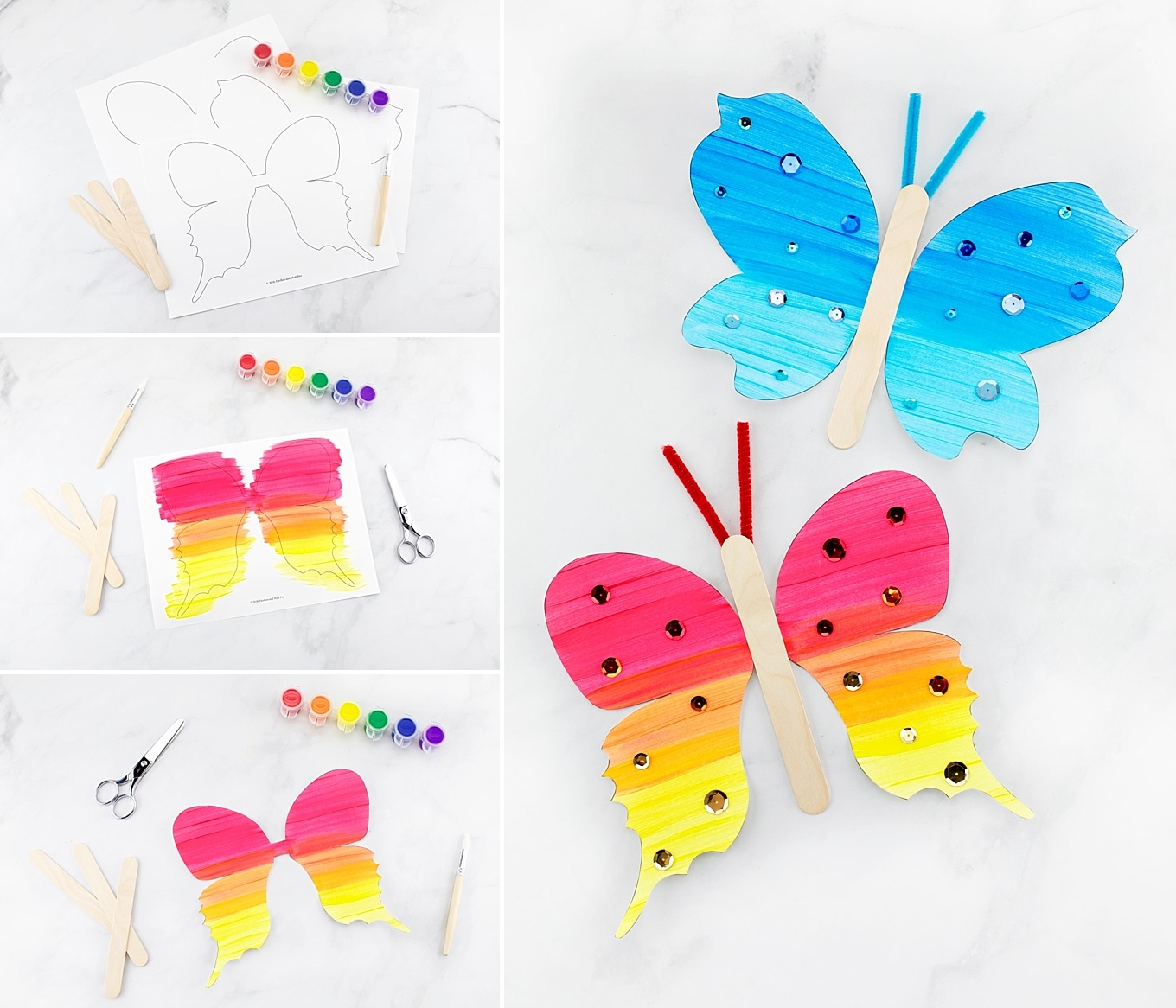 Collage Image of Fluttering Butterfly Craft for Kids