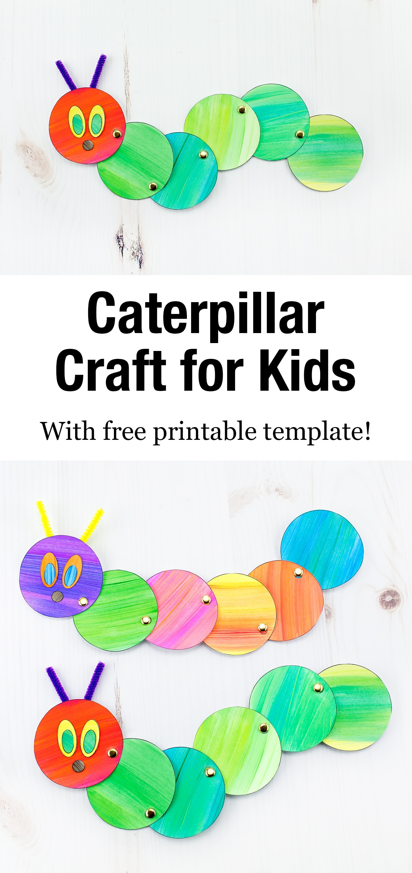 Looking for an easy and fun caterpillar craft for kids? Inspired by The Very Hungry Caterpillar, our simple caterpillar craft includes a printable template, making it perfect for home or school. #caterpillarcraft #springcraft #kidscrafts #papercrafts #veryhungrycaterpillarcrafts via @firefliesandmudpies