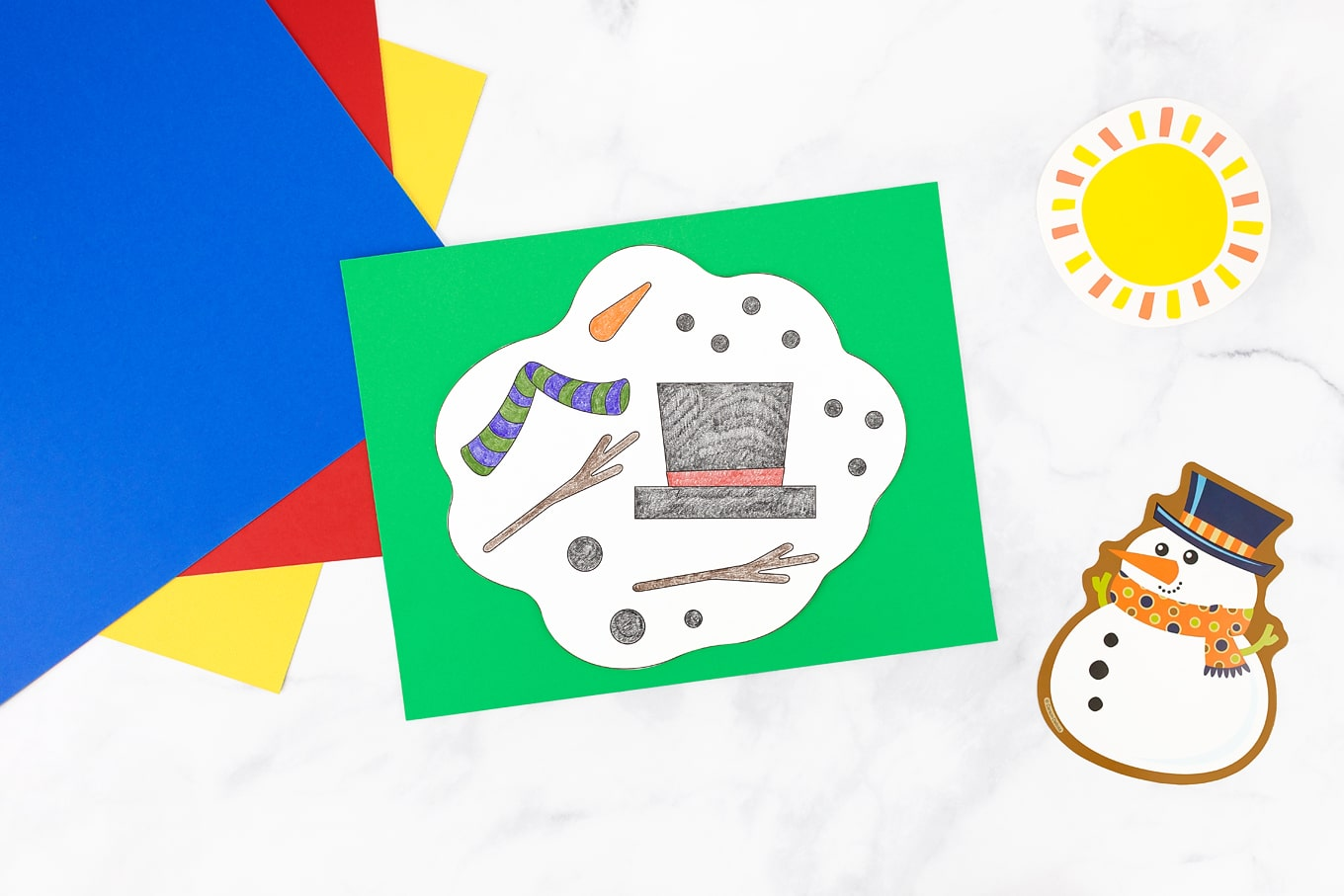 Melting Snowman Coloring Page Craft for Kids