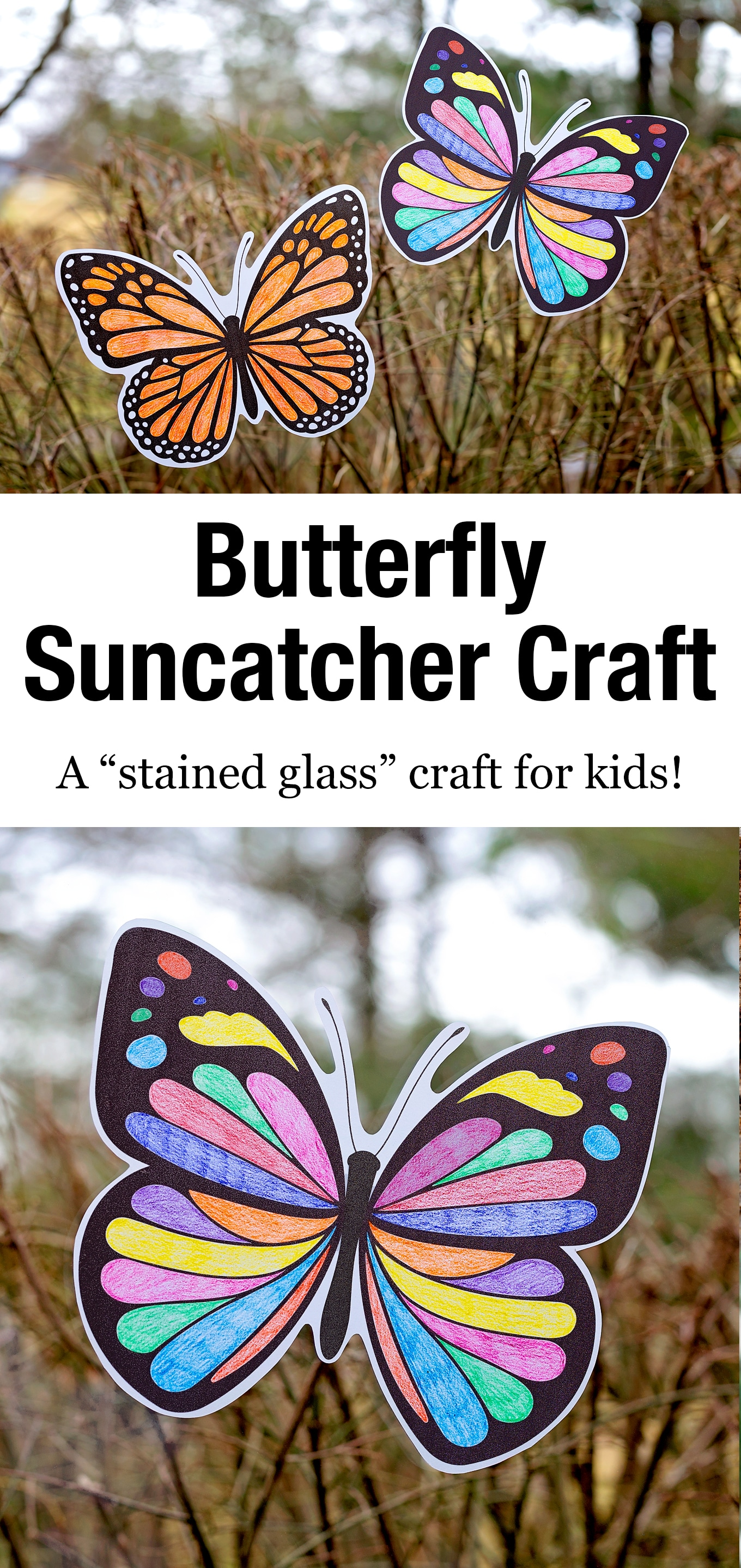 This Butterfly Suncatcher Craft is a creative and beautiful craft that you can easily display in your home. It's perfect for kids of all ages! #butterflysuncatcher #kidscrafts #springcrafts via @firefliesandmudpies