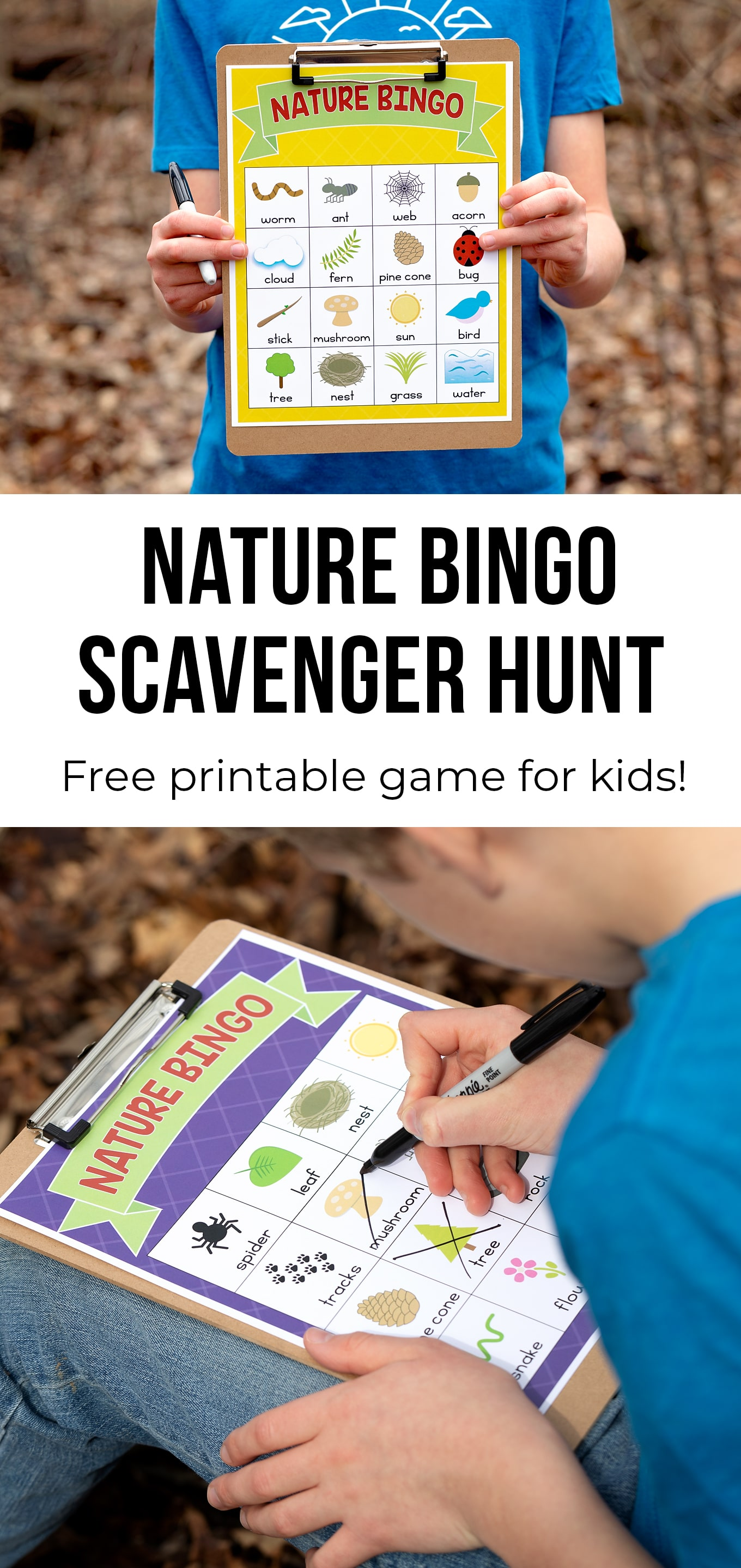 Explore the outdoors and stay active with this free printable Nature Scavenger Hunt for kids. It's perfect for backyards, parks, and neighborhood walks! #naturescavengerhunt #scavengerhunt #outdooractivities #kidsactivities via @firefliesandmudpies