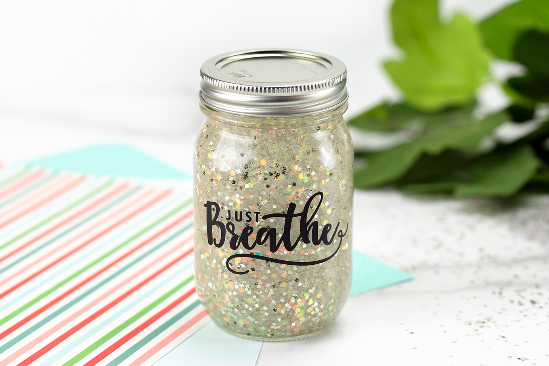 Just Breathe Glitter Jar