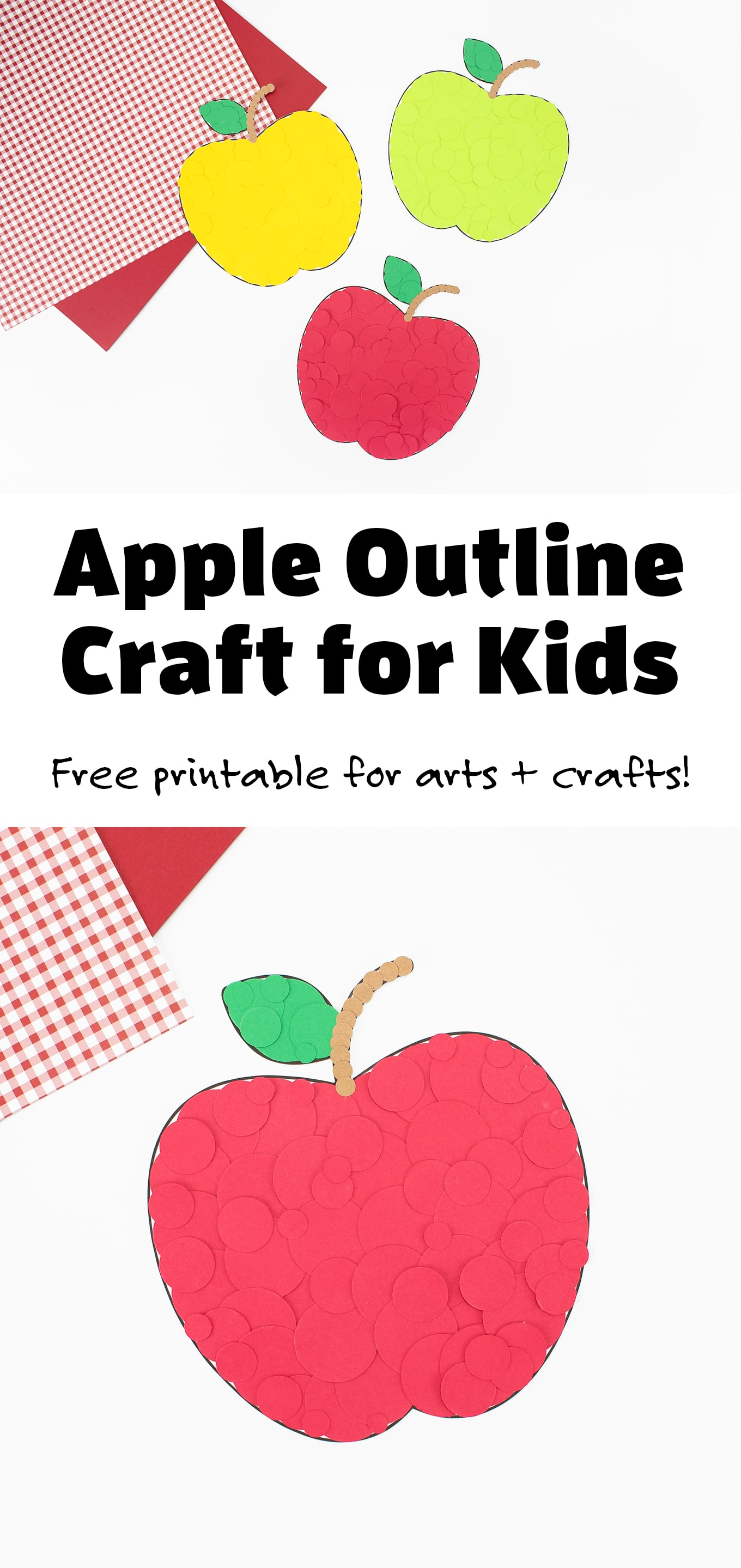 Kids of all ages will love using our free printable apple outline to make a variety of easy apple crafts and decorations for fall! #appleoutline #appletemplate #applepattern #preschool #fallcrafts #applecrafts via @firefliesandmudpies