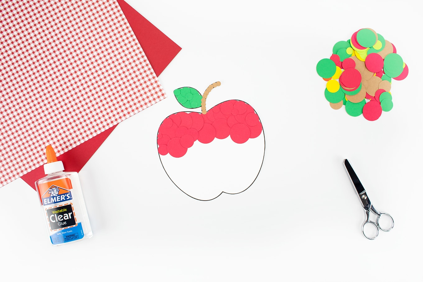Red Paper Apple Craft In-Process