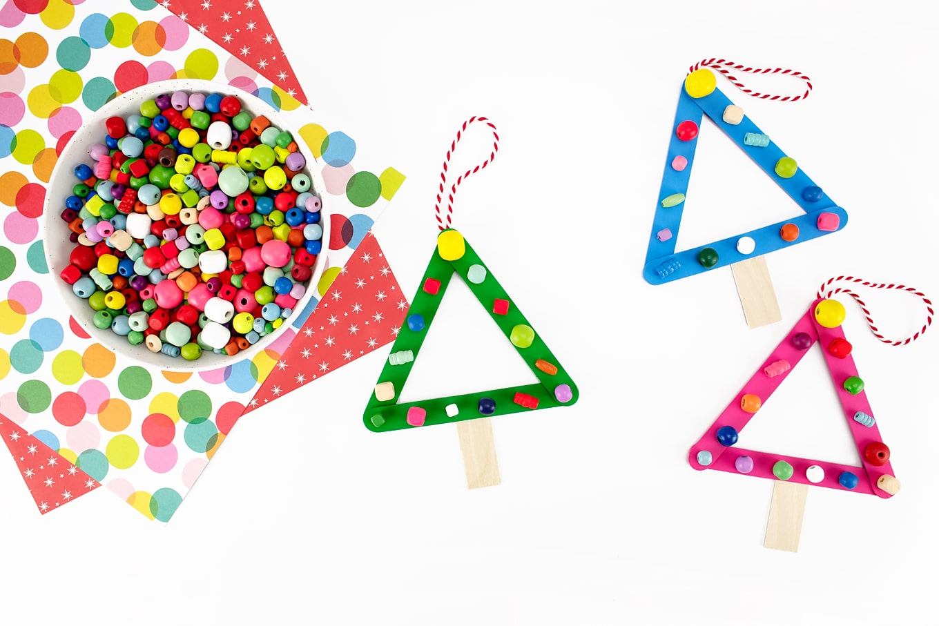 Popsicle Stick Christmas Tree Ornament Craft for Kids