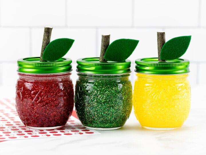 Apple Glitter Jars
