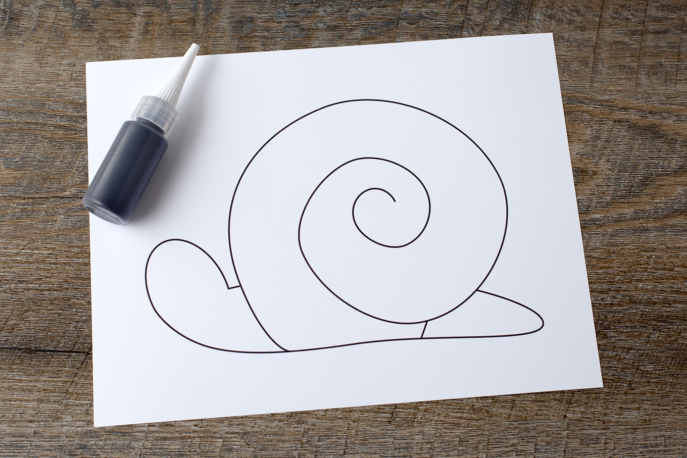Learn how to make Black Glue and Watercolor Snail Art. This craft includes a free template, making it perfect for home or school.