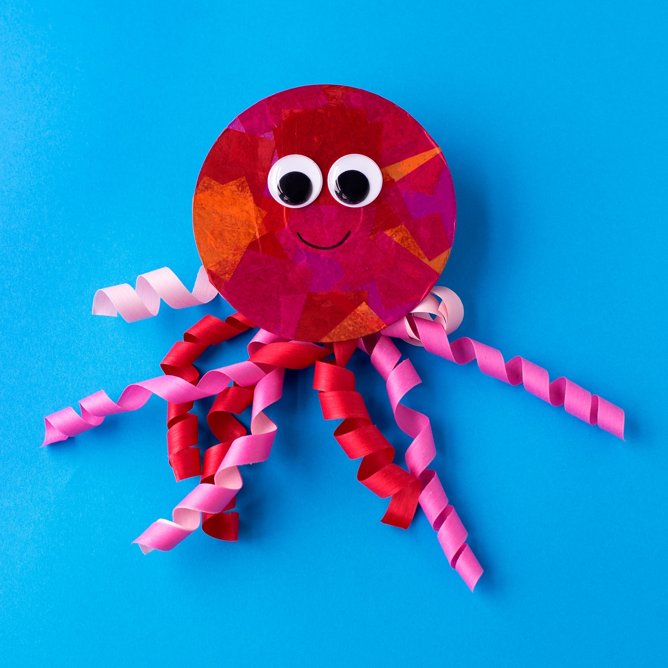 Red and Pink Tissue Paper Jellyfish Craft