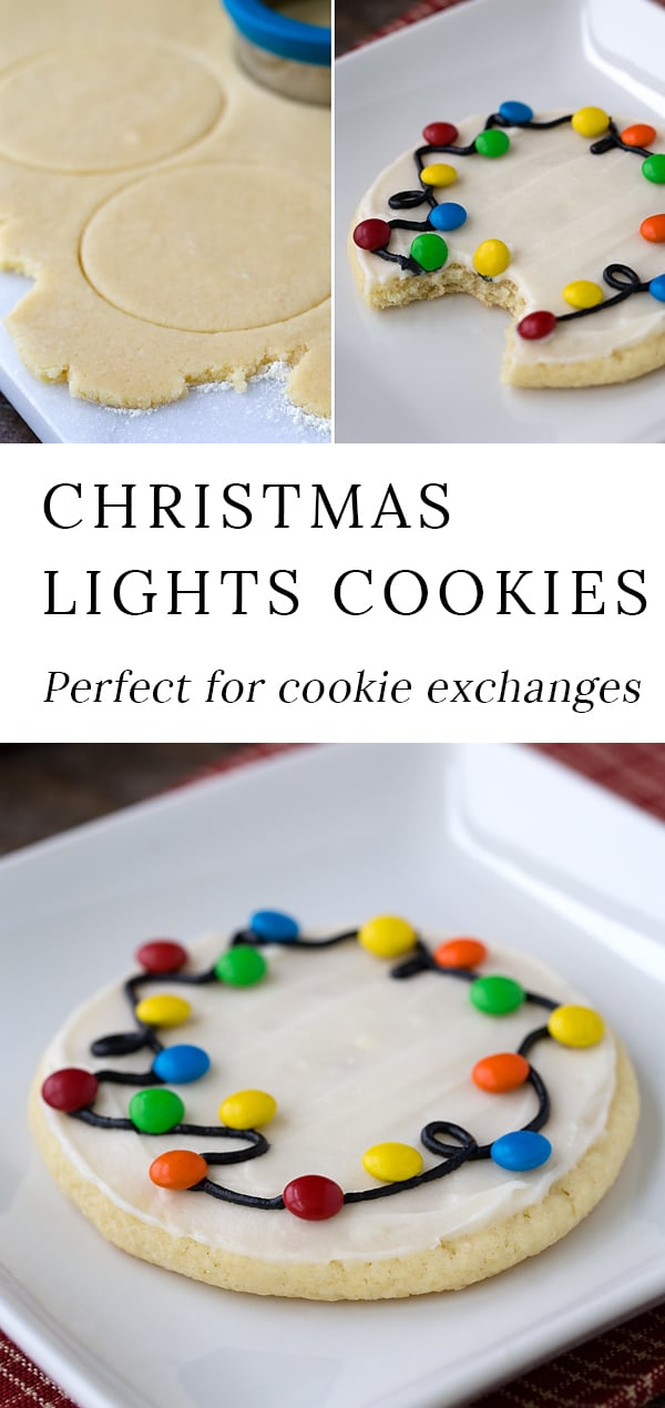 Looking for an easy decorated Christmas cookie recipe to make with the kids? These Christmas Lights Cookies are the best! They are very fun to bring to cookie exchanges, so make extra! via @firefliesandmudpies