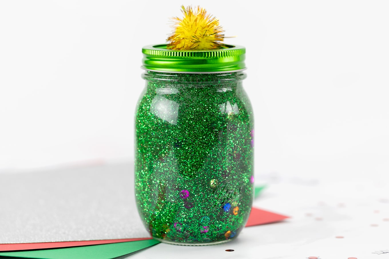 Christmas Tree Glitter Jar