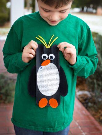 Craft Stick Macaroni Penguin