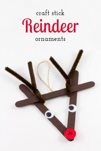 Craft Stick Reindeer Ornaments - Fun for kids of all ages! 10 Awesome ideas for Reindeer Ornaments Kids can Make! || Letters from Santa Holiday Blog