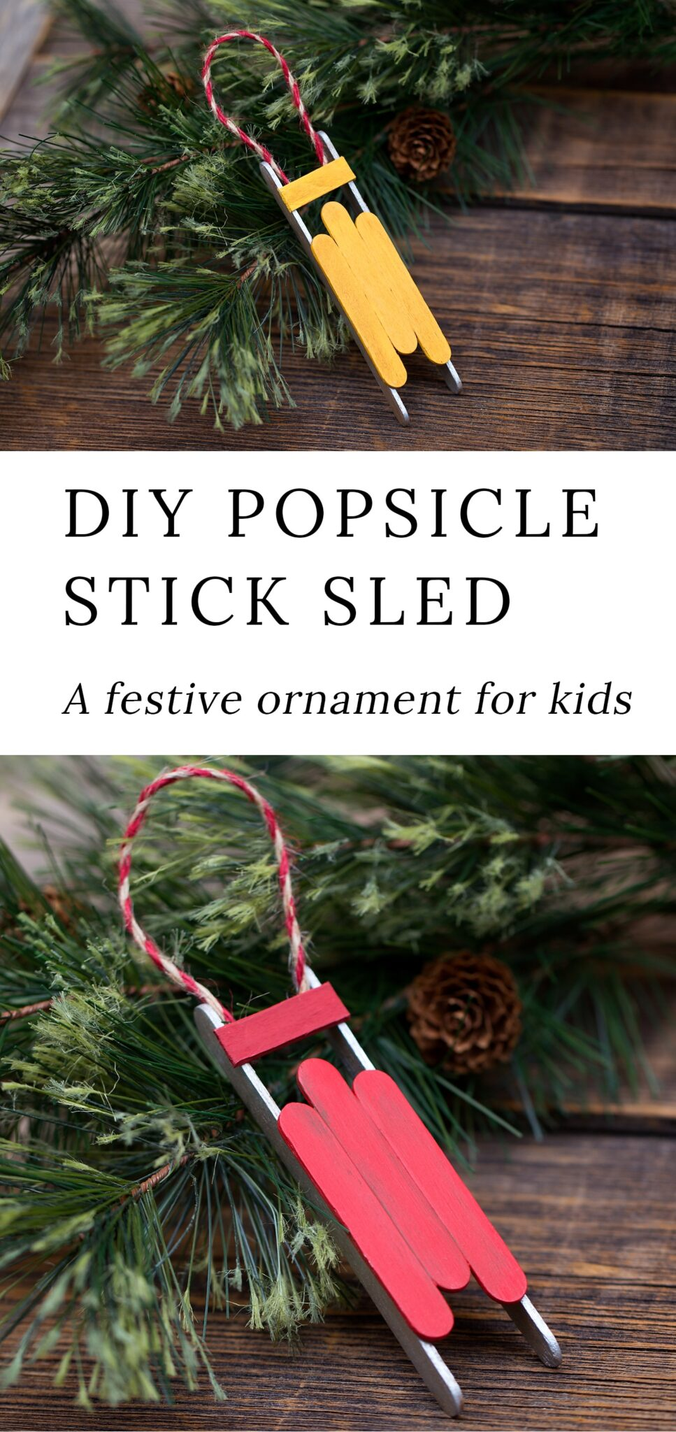 Just in time for Christmas, learn how to make a DIY wooden popsicle stick sled ornament with craft sticks, glue, and paint. This simple holiday craft for kids is perfect for home or school! #sled #ornament via @firefliesandmudpies