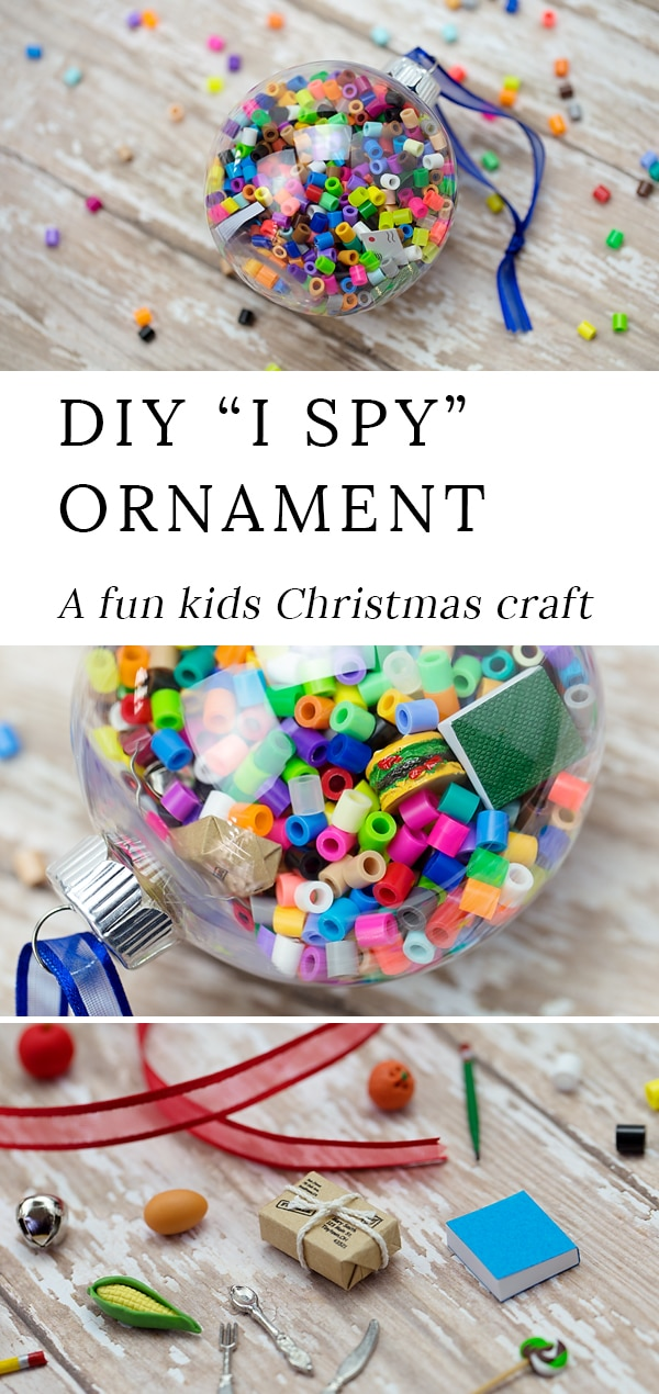 Kids of all ages will enjoy creating this easy and fun I Spy Ornament for Christmas. Such a cute gift! #christmas #ornament #kids via @firefliesandmudpies