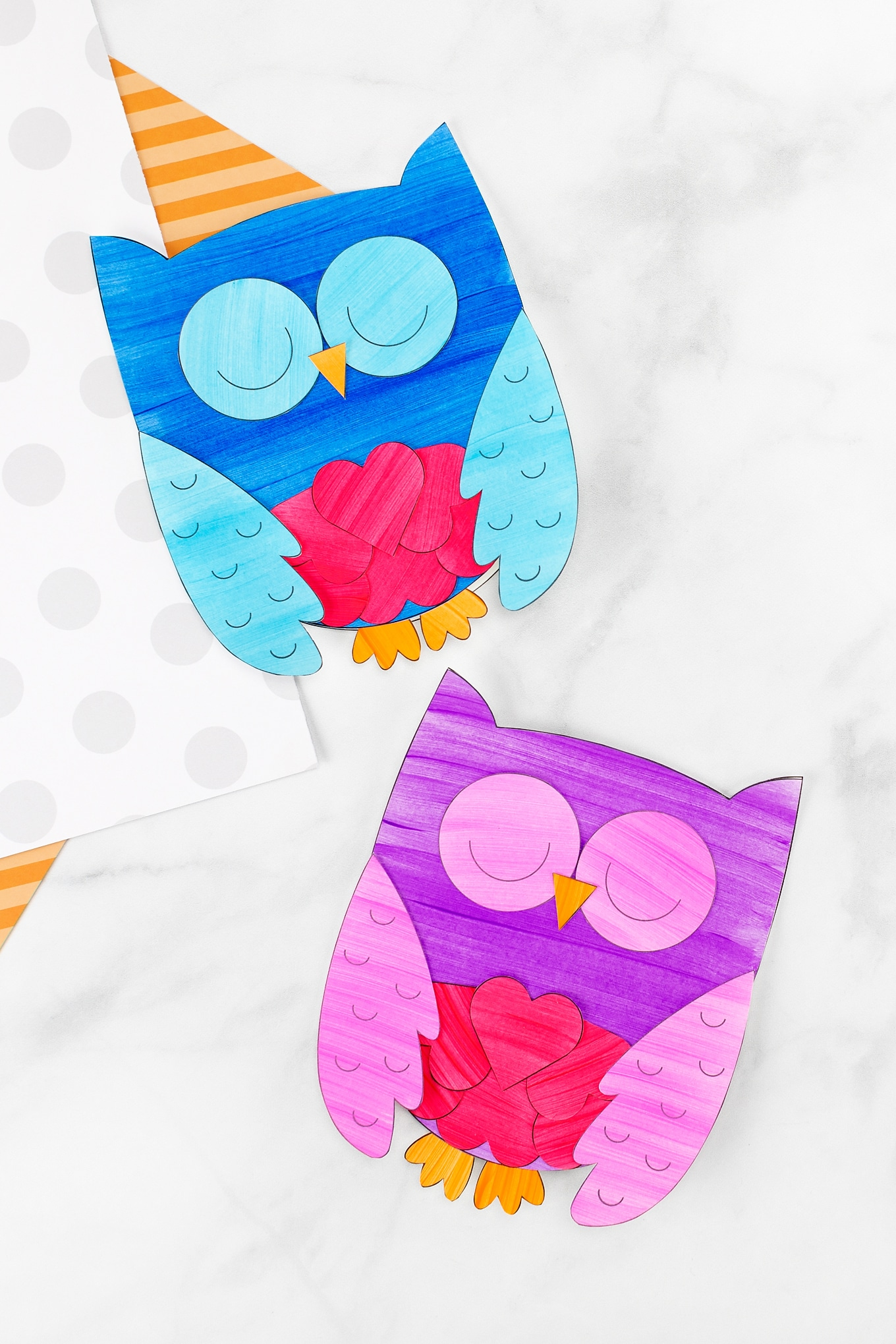 Blue and Purple Owl Valentines with Owl Template