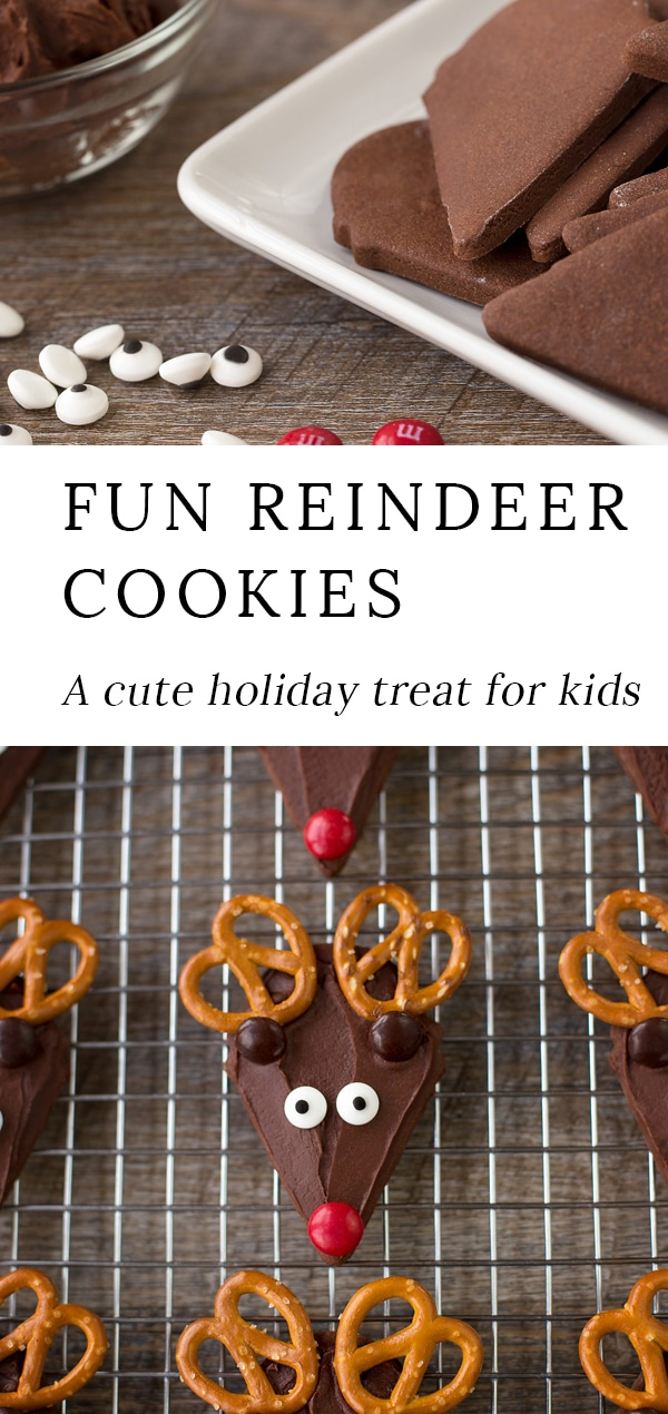 Chocolate Reindeer Cookies with pretzel antlers are the perfect festive treat for Christmas. Guaranteed to please kids of all ages, this fun recipe is an easy and whimsical cookie to make for holiday parties, cookie exchanges, or relaxing afternoons at home! #christmas #cookies #reindeer via @firefliesandmudpies