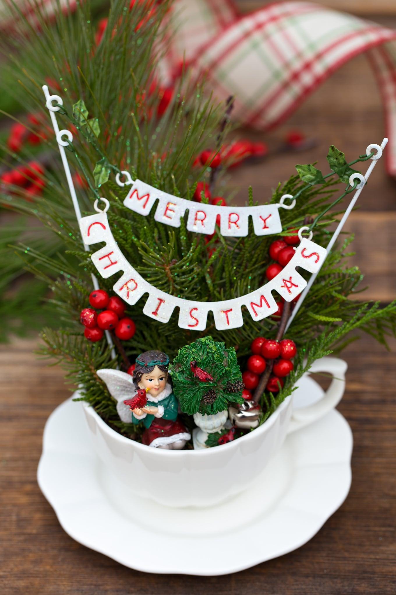 How to Make an Adorable Christmas Teacup Garden
