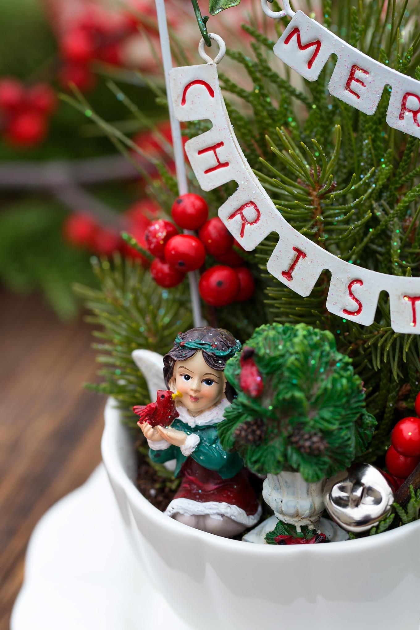Christmas Fairy in DIY Teacup Garden