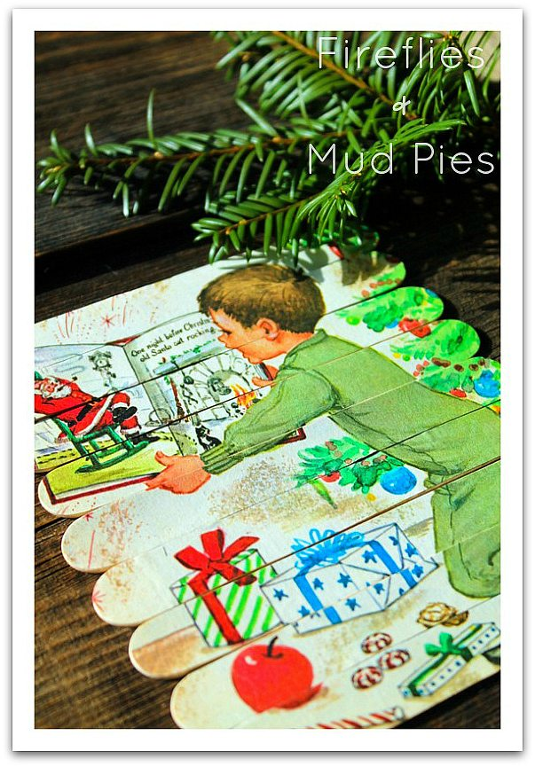 Make magnetic craft stick Christmas puzzles as a stocking stuffer!  Fireflies and Mud Pies