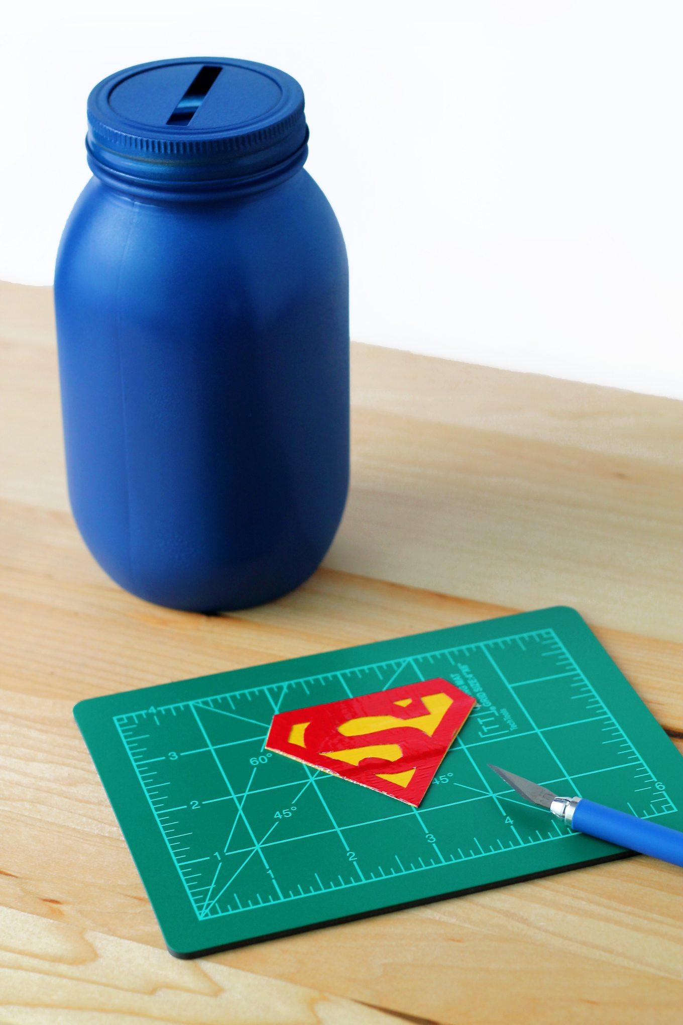 Mason Jar Superhero Bank