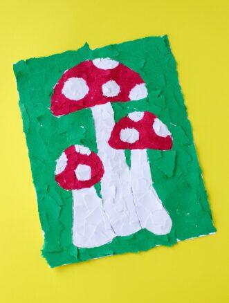 Construction Paper Mosaic Mushroom Art
