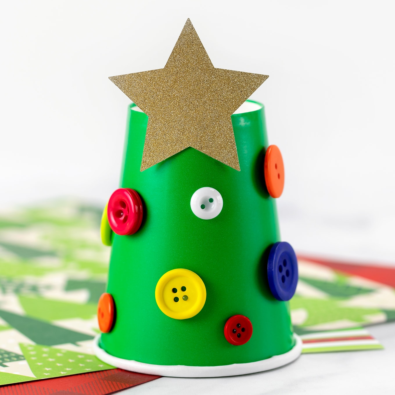 Paper Cup Christmas Tree with Buttons