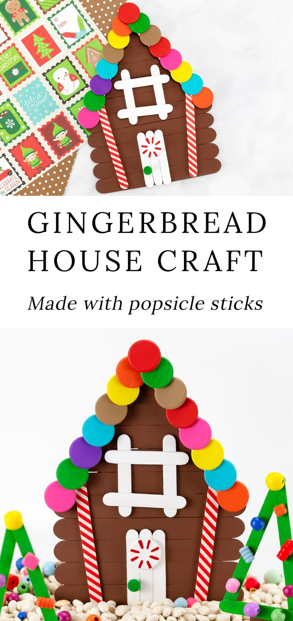 This DIY popsicle stick gingerbread house craft is an easy and fun Christmas craft for kids! Includes a free printable craft pattern and ideas for sensory play. #popsiclestick #gingerbreadhouse #christmas #kids via @firefliesandmudpies