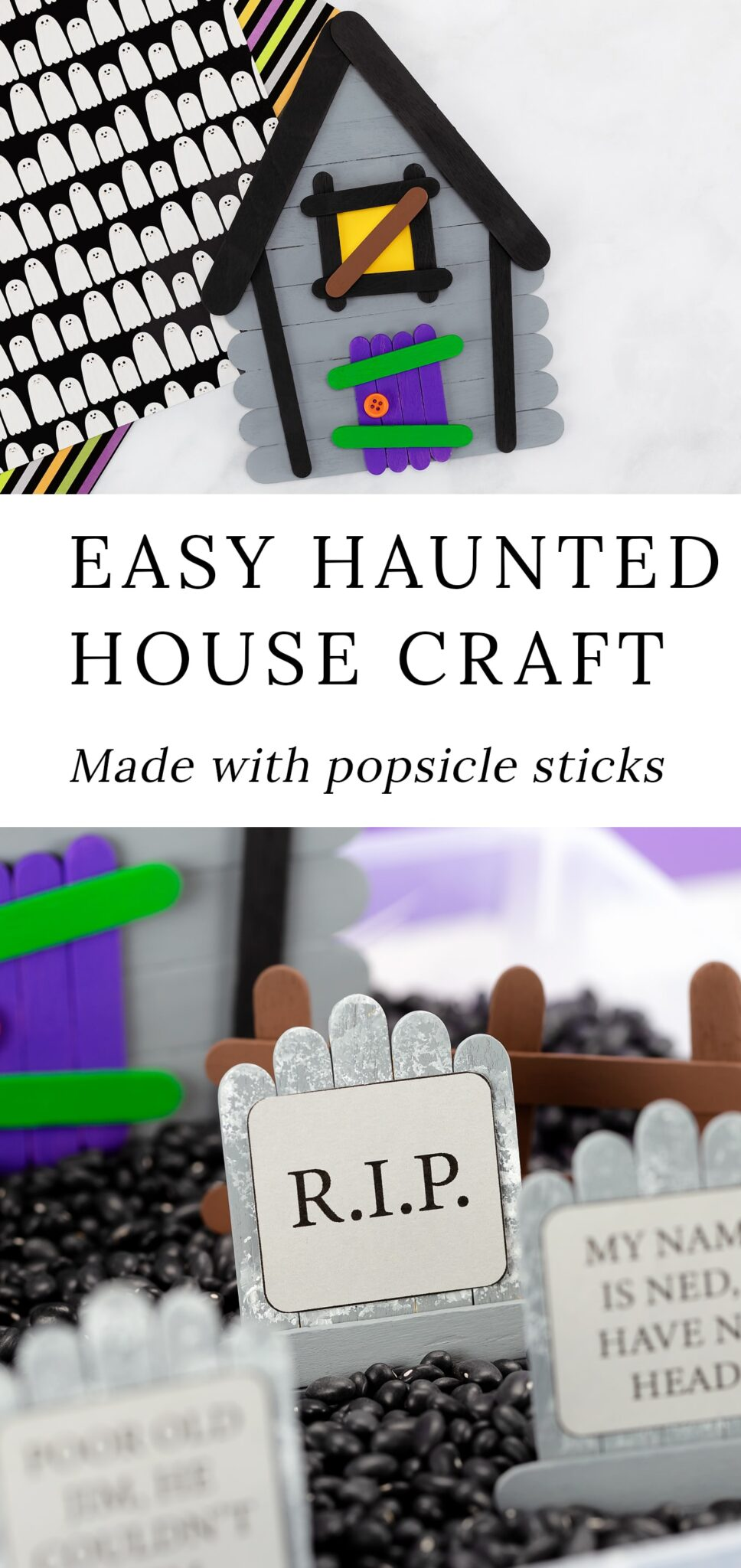 This post includes 3 innovative popsicle stick craft templates that will guide you through the process of making a spookypopsicle stick haunted housecomplete with popsicle stick tombstones and fences. They are perfect for imaginative play! #popsiclestick #hauntedhouse #halloween #kids via @firefliesandmudpies