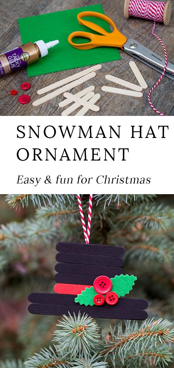 'Tis the season for fun, festive Christmas ornaments! This creative Snowman Hat Ornament is a cute Christmas craft for crafters of all ages. #snowman #ornament #christmas #craft via @firefliesandmudpies