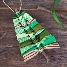 Green and Brown Scrap Ribbon Christmas Tree Ornament