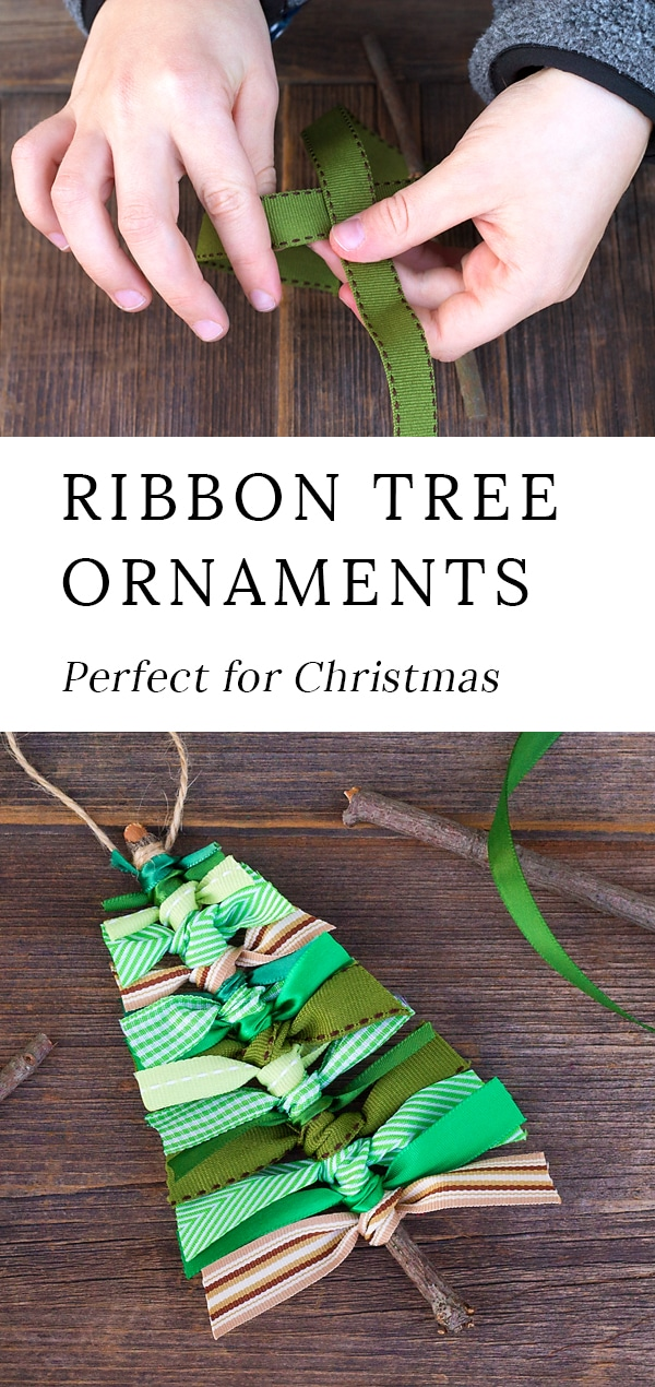 These Scrap Ribbon Tree Ornaments are perfect for Christmas! Kids will enjoy using cinnamon sticks or twigs to create this easy DIY ornament for the holidays. #ornaments #tree #ribbon via @firefliesandmudpies