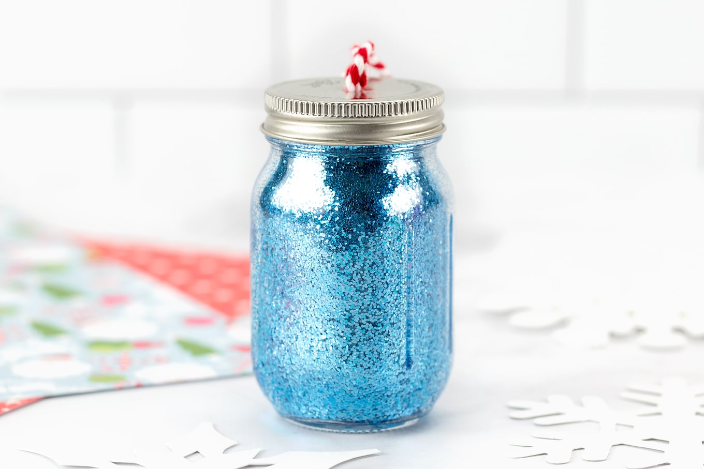 Blue Glitter Jar Ornaments