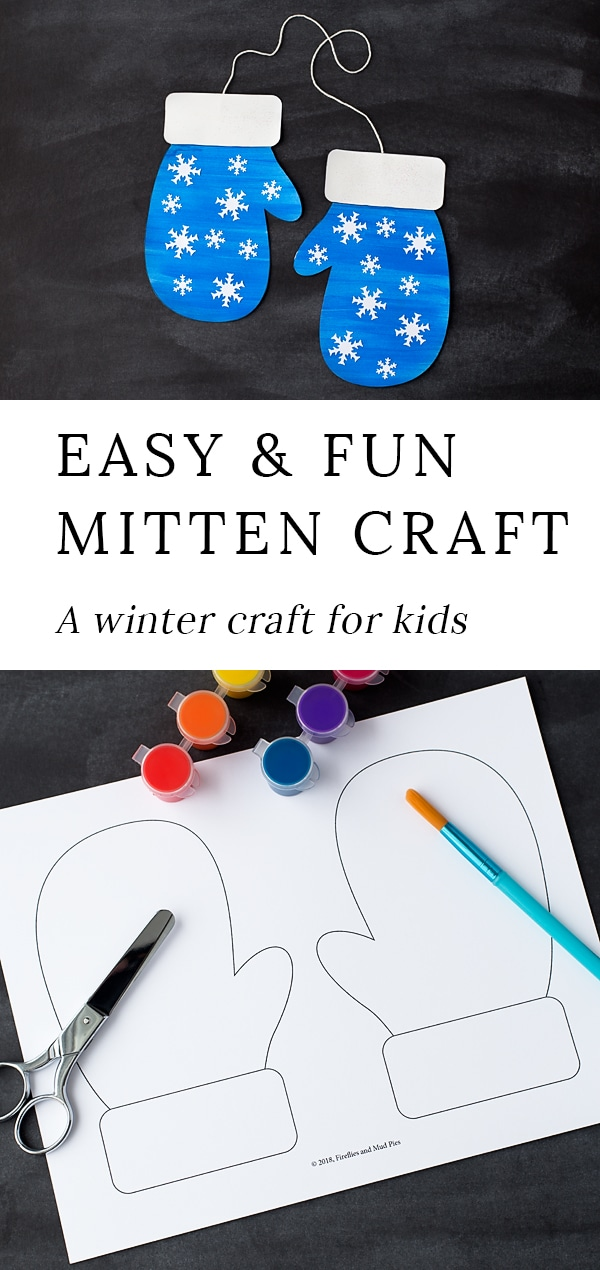 Winter is the perfect season for mitten crafts! Toddlers, preschoolers, and kindergartners will enjoy using our printable template, washable paint, and basic craft supplies to create a fun and colorful mitten craft at home or school.#winter #craft via @firefliesandmudpies