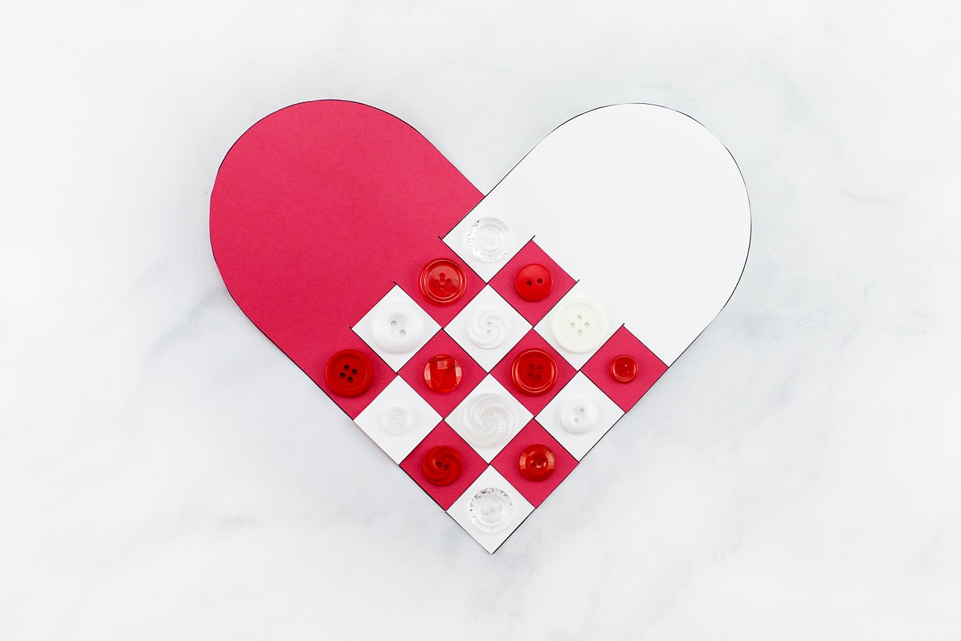 Red and White Woven Heart Craft with Buttons