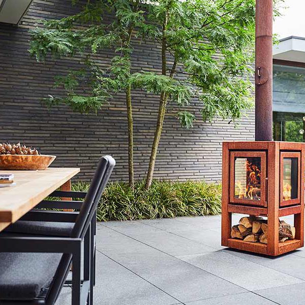 rb73 quaruba xl mobile weathered premium outdoor chiminea and wood stove