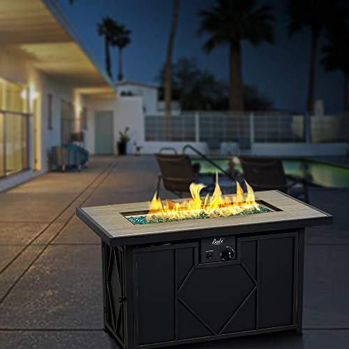 Bali Outdoors Gas Fire Pit 42 Inch 60 000 Btu Rectangular Outdoor Propane Fire Pits Table Black Fire In Style Fireplaces Stoves Fire Pits