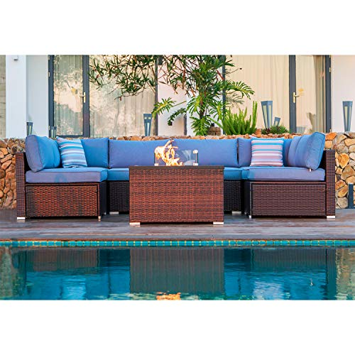 cosiest 7 piece propane fire pit table outdoor sectional sofa chocolate brown patio furniture set w 32 inch square