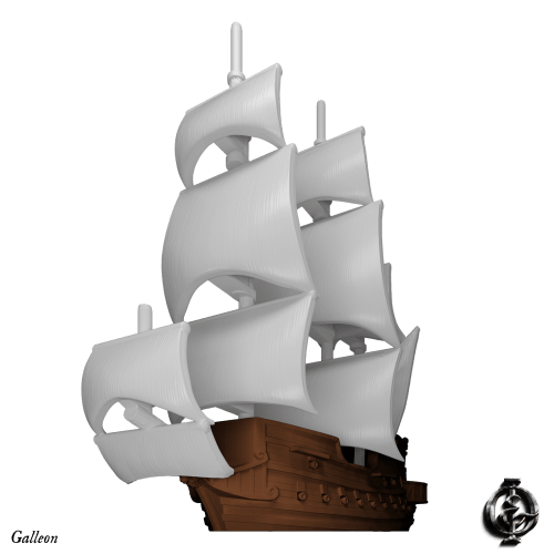 Oak & Iron, Light Galleon 3D Render