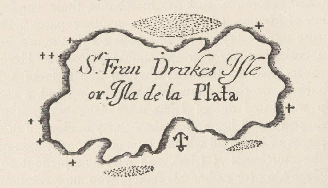 The Isla de la Plate from Basil Ringrose's account in The Buccaneers of America, 1684.