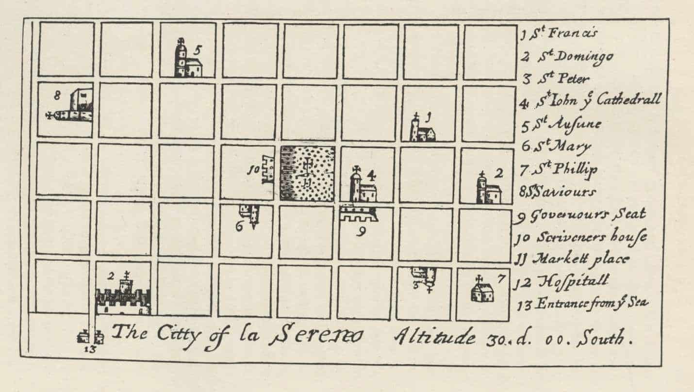 La Serena as depicted in The Buccaneers of America and drawn by Basil Ringrose, 1684.