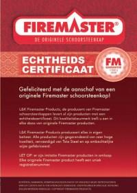 Echtheidscertificaat schoorsteenkap Firemaster
