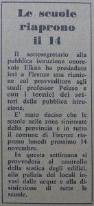 Le scuole riaprono il 14 – La Nazione del 4 novembre 1966